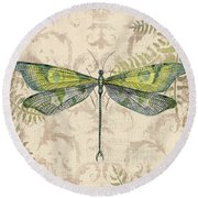 Dragonfly Daydreams-c Round Beach Towel