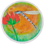 Dragonfly On Red Flower Round Beach Towel