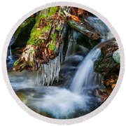 Dragons Teeth Icicles Waterfall Great Smoky Mountains Painted  Round Beach Towel