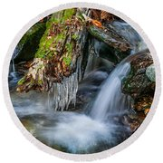 Dragons Teeth Icicles Waterfall Great Smoky Mountains  Round Beach Towel