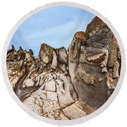 Dragon's Teeth Rocks Round Beach Towel