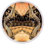 Dragon's Temple Round Beach Towel