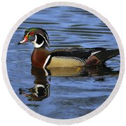 Drake Wood Duck Round Beach Towel