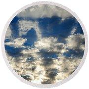 Drama Cloud Sunset I Round Beach Towel