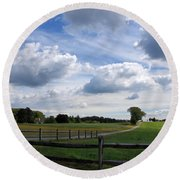 Dramatic Blustery Sky Over The Hayfield Round Beach Towel