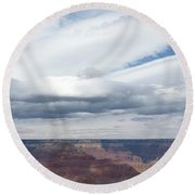 Dramatic Clouds Over The Grand Canyon Round Beach Towel