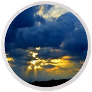 Dramatic Clouds Round Beach Towel