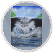 Dramatic Falls Round Beach Towel