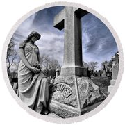 Dramatic Gravestone With Cross And Guardian Angel Round Beach Towel