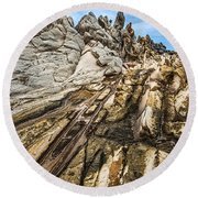 Dramatic Lava Rock Formation Called The Dragon's Teeth In Maui. Round Beach Towel