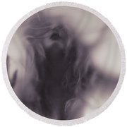 Dramatic Photo Of Woman Blurred Silhouette Behind Hazy Glass Round Beach Towel