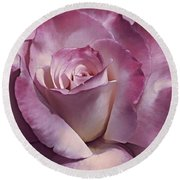 Dramatic Plum Rose Flower Round Beach Towel