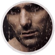 Dramatic Portrait Of Man Face With Water Pouring Over It Round Beach Towel by Oleksiy Maksymenko