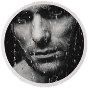 Dramatic Portrait Of Man Wet Face Black And White Round Beach Towel
