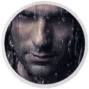 Dramatic Portrait Of Man Wet Face With Long Hair Round Beach Towel by Oleksiy Maksymenko