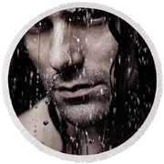 Dramatic Portrait Of Young Man Wet Face With Long Hair Round Beach Towel