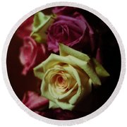 Dramatic Purple And Yellow Roses Round Beach Towel