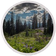 Dramatic Rainier Flower Meadows Round Beach Towel