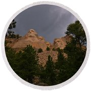 Dramatic Rushmore Round Beach Towel
