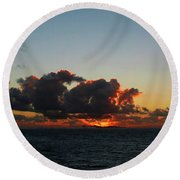 Dramatic Sea Sky At Dawn Round Beach Towel