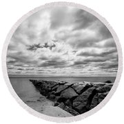 Dramatic Sky At Penfield Jetty Round Beach Towel