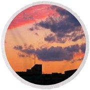Dramatic Sky Dwarfs Halifax Skyline Round Beach Towel