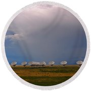 Dramatic Sky Over The Very Large Array Round Beach Towel