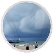 Dramatic Storm Clouds Over Lake Michigan Round Beach Towel