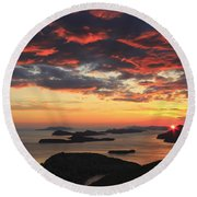Dramatic Sunset Over Dubrovnik Croatia Round Beach Towel