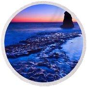 Dramatic Sunset View Of A Sea Stack In Davenport Beach Santa Cruz. Round Beach Towel
