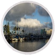 Dramatic Tropical Storm Light Over Honolulu Hawaii  Round Beach Towel
