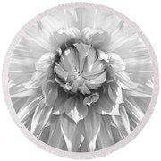 Dramatic White Dahlia Flower Monochrome Round Beach Towel