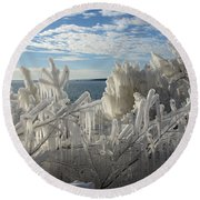 Draped In Icy Beauty Round Beach Towel