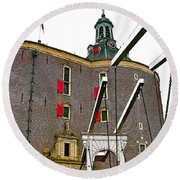 Drawbridge And Tower In Enkhuizen-netherlands Round Beach Towel