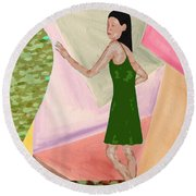 Drawing Back The Veil Round Beach Towel