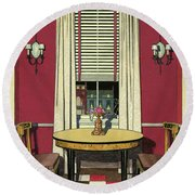Drawing Of A Breakfast Room Round Beach Towel