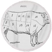 Drawing Of A Bullock Marked To Show Eighteen Different Cuts Of Meat Round Beach Towel
