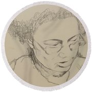 Drawing Of A Woman Round Beach Towel