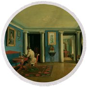 Drawing Room With Columned Entresol  Round Beach Towel