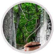 Drawn To The Woods With Imagination Round Beach Towel