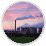 Drax Power Station At Sunset Round Beach Towel