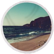 Dream By The Sea Round Beach Towel