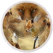 Dream Catcher- Spirit Of The Red Fox Round Beach Towel