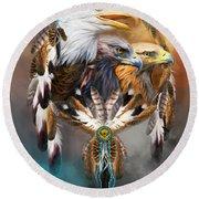 Dream Catcher - Three Eagles Round Beach Towel