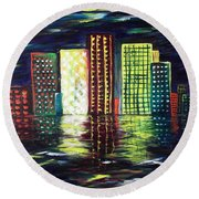 Dream City Round Beach Towel
