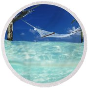 Dream Hammock. Round Beach Towel by Sean Davey