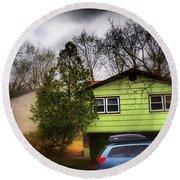 Suburban Dream - House With Blue Car Round Beach Towel
