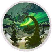 Dream Landscapes Aurora Green Round Beach Towel