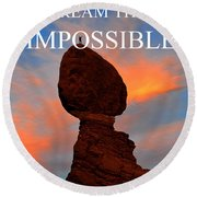 Dream The Impossible Card Poster Two Round Beach Towel