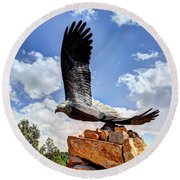 Dream Your Eagle And Fly With Him Round Beach Towel